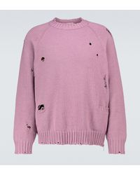 Undercover Knitted Distressed Sweater - Pink