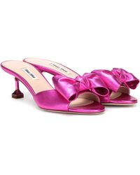 Miu Miu Metallic Leather Sandals - Pink