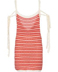 Alanui Desert Summer Striped Cotton Minidress - Red