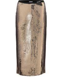 RED Valentino Falda midi con lentejuelas - Metálico