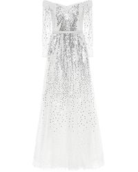 Marchesa notte Exclusivité Mytheresa – Robe longue à encolure bardot en tulle à sequins - Blanc
