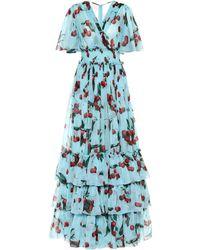 Dolce & Gabbana Exclusive To Mytheresa – Cherry Printed Silk Gown - Blue