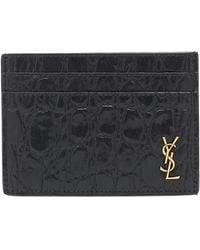 Saint Laurent Croc-effect Leather Card Holder - Black