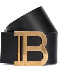 Balmain Gürtel B-Belt aus Leder - Schwarz