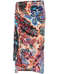 Paco Rabanne Floral Velvet Midi Skirt - Multicolour
