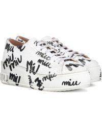 Miu Miu - Printed Leather Platform Trainers - Lyst