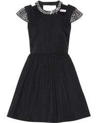 RED Valentino Rhinestone Embellished Twill Dress - Black