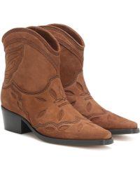 Ganni Botas cowboy Low Texas de gamuza - Marrón