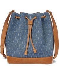 Saint Laurent Bucket-Bag Monogramme - Blau