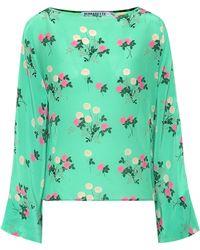 BERNADETTE Gemma Floral Silk Top - Green