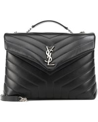 Saint Laurent Loulou Medium Leather Shoulder Bag - Black