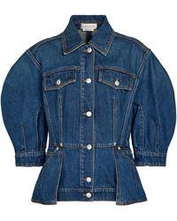 Alexander McQueen Peplum Denim Jacket - Blue