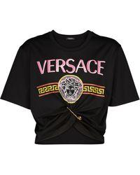 Versace Crop top Safety Pin de algodón - Negro