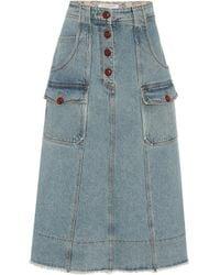Philosophy Di Lorenzo Serafini High-rise Denim Mini Skirt - Blue
