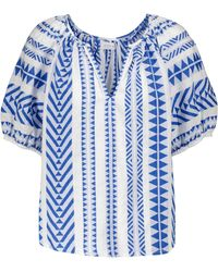 Velvet Zaria Printed Cotton Top - Blue