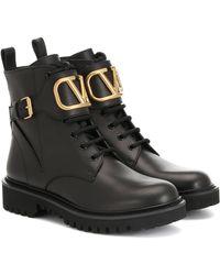 Valentino Garavani Combat Boots 35mm aus schwarzem Leder