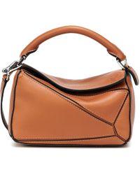 Loewe Puzzle Mini Leather Shoulder Bag - Brown