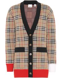 Burberry Check Wool Blend Cardigan - Multicolour