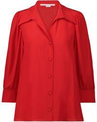 Stella McCartney Camisa Willow de crepé de seda - Rojo