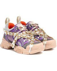 Gucci Flashtrek Embellished Sneakers - Purple