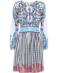 Mary Katrantzou Bedrucktes Kleid aus Baumwolle - Blau