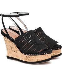 Alaïa Suede Wedge Sandals - Black