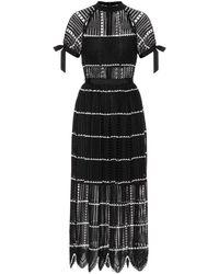 Self-Portrait Crochet Midi Dress - Black