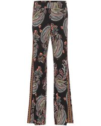 Etro Paisley-printed Flared Trousers - Black