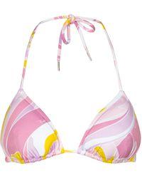 Emilio Pucci Bedrucktes Bikini-Oberteil - Pink