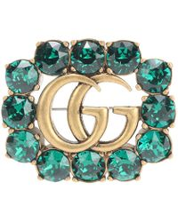 Gucci Spilla Doppia G in metallo con cristalli - Verde