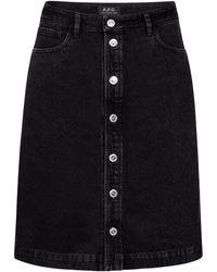 A.P.C. Therese High-rise Denim Miniskirt - Black