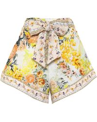 Camilla Belted Floral Linen Shorts - Multicolour