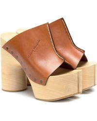 Maison Margiela Tabi Leather Platform Sandals - Brown