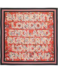 Burberry Bedrucktes Seidentuch - Rot