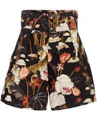 Etro Short ample à taille haute en coton à fleurs - Noir