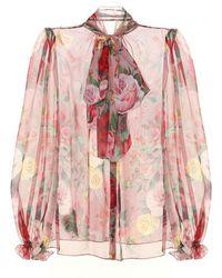 Dolce & Gabbana Floral Silk-chiffon Blouse - Pink