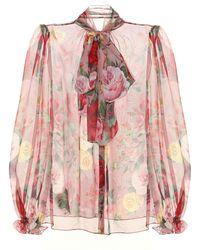 Dolce & Gabbana Camisa Con Lazo De Chifón Y Estampado De Rosas Barrocas