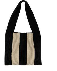 JOSEPH Striped Ribbed-knit Wool Shoulder Bag - Black