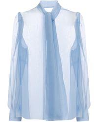 Dolce & Gabbana Tie-neck Silk Chiffon Blouse - Blue