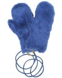 Max Mara Guanti Agar in alpaca, lana e seta - Blu