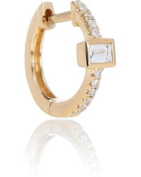 Jacquie Aiche Pave Baguette Mini Hoop 14 Yellow Gold Single Earring With Diamonds - Metallic