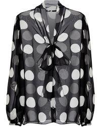Dolce & Gabbana Exclusive To Mytheresa – Polka-dot Silk Chiffon Blouse - Black