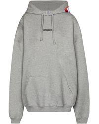 Vetements Logo Cotton-blend Hoodie - Grey