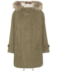 Saint Laurent Cotton And Linen Parka With Fur-trimmed Hood - Green