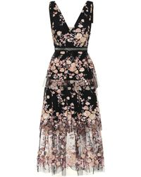 Self-Portrait Floral Dress - Black