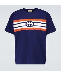 Gucci T-shirt en coton à logo GG - Bleu