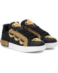 Dolce & Gabbana Verzierte Sneakers Portofino - Schwarz