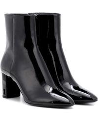 Saint Laurent Lou 70 Patent Leather Ankle Boots - Black