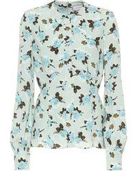 Erdem Zoey Floral Crêpe Shirt - Blue