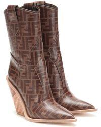 Fendi Printed Cowboy Boots - Brown